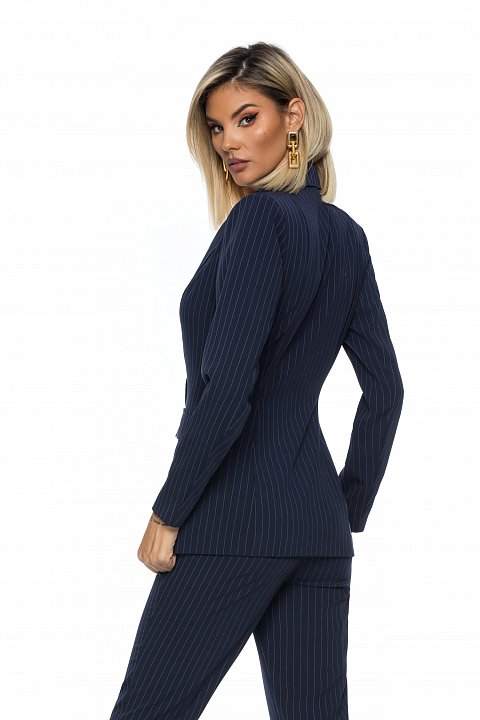 Double-breasted suit in elegant pinstripe blue.