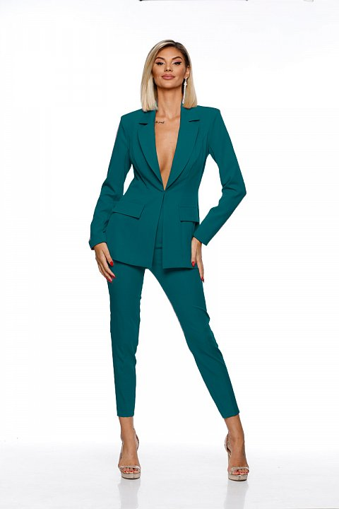 Teal green structured cady suit